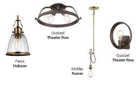 a wall mount and flush mount light in western bronze finishes and two pendant lights