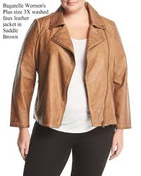 bale women s plus size 3x washed faux leather jacket in walnut brown