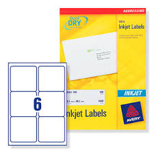 labels 6 per page 534500 avery quick dry addressing labels inkjet 6 per sheet 99 1x93