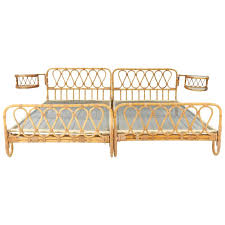 rattan twin bed. Modren Twin MidCentury Modern Rattan Twin Beds With Rotating Bedside Tables 1950s For  Sale To Bed