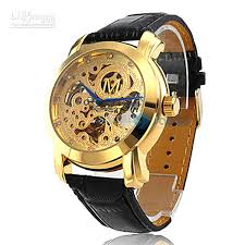 hot automatic mechanical black leather band wrist men watch automatic mechanical black leather band wrist men watch golden hollow engraving dial