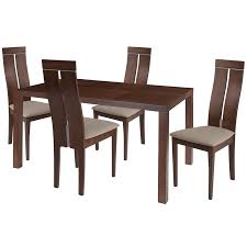 clarke 5 piece walnut wood dining table set with clean line wood dining chairs padded seats es 49 gg