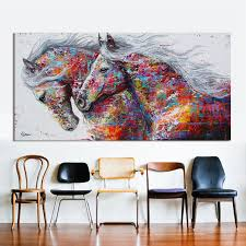 hdartisan animal wall art pictures for living room home decor canvas painting the two running horse