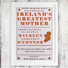 irelands greatest mother personalised poster