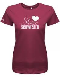 Stolze Schwester Herz Damen T Shirt Geschwister