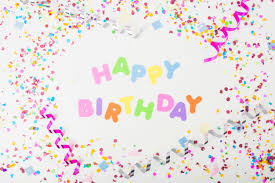 Colorful Happy Birthday Text With Confetti And Curling
