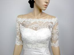 Off Shoulder Alencon Lace Bolero Jacket Bridal Bolero Wedding