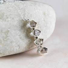 herkimer diamond silver drop pendant necklace