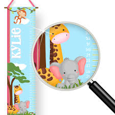 Wall Chart Jungle Baby Jungle Animals Kids Personalized Height Growth Chart