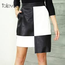 women black leather skirt female casual patchwork high waist midi pu pencil skirts with pockets lady con party skirt talever malaysia