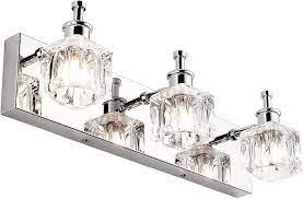 Presde Vanity Lights Bathroom Fixture Over Mirror 3 Lights Led Modern Chrome Fixtures Crystal Glass Globe Amazon Com