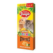 Лакомство <b>Happy Jungle палочки для</b> крупных грызунов мед+ ...