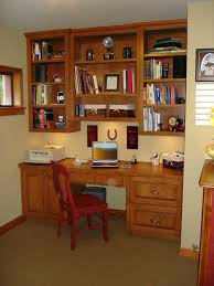 casual home office furniture ideas for small spaces with cherry gold oak wood study desk and wall mount wooden bookshelves as well as cherry wood office cherry wood home office