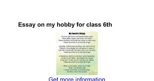 essay on my hobby for class th google docs