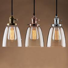 Adjustable vintage industrial pendant lamp cafe glass brass chrome shade  light