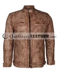 antique waxed fashion designer motorcycle rider mens leather jacket