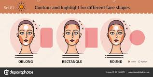 contouring and highlight makeup guide vector set of diffe types of woman face various makeup for woman face vector ilration stock ilration