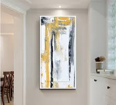 office canvas art. Large Oil Painting On Canvas Abstract Art Modern Yellow Vertical Acrylic Living Room Office