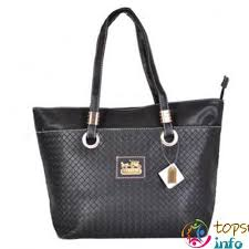 Coach Knitted Logo Medium Totes Black