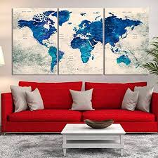 >amazon 3 panel watercolor vintage blue wall art world map push  3 panel watercolor vintage blue wall art world map push pin large canvas print push