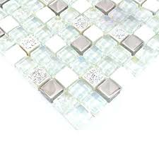 glass and stone mosaic silver glass tiles white stone wall tile iridescent glass mosaics hm0007
