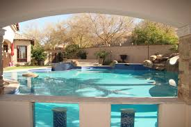 Pool designs with swim up bar Backyard Pool Swimup Bar With Underwater Viewing Panels Unique Landscapes Swim Up Bars Swimming Pool Bars Phoenix Landscaping Design Pool