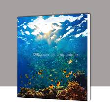 framed diy oil painting by numbers underwater world landscape diy digital canvas hand oil painting wall art kit home room decor diy paintings hand oil