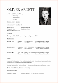 Acting Cv Template Acting Cv Template Resume Examples For Actors