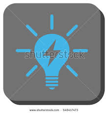 vector square blue icon lighting bulb. electric light bulb vector icon image style is a flat symbol in rounded square blue lighting