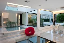modern house inside.  House Indoor Water Feature Open Plan Living Modern House In Pilar Buenos Aires With Inside