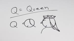 Creative Arts Ideas for Children; How to Draw Q for Queen Modern Art for  Kids Part 17