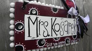 Texas A Aggies Teacher Name Sign Personalized. $40.00, via Etsy.   Teacher  name signs, Classroom decorations, Teacher name