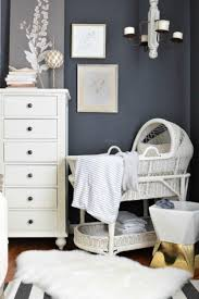 Wicker Bassinet In The Baby Room With Grey Walls - Bassinet ...