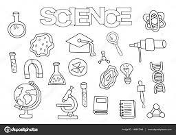 Wetenschap Elementen Hand Getekende Set Kleurplaat Boek Sjabloon