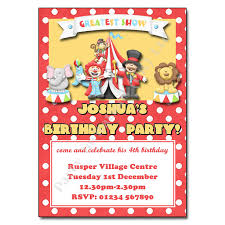 Personalised Birthday Invitations For Kids Circus Party Invitation Personalised Party Invites