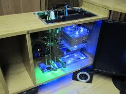 custom built computer inside desk