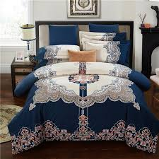 deep blue brown and white indian pattern ethnic inspired moroccan style exotic 100 brushed cotton full queen size bedding sets