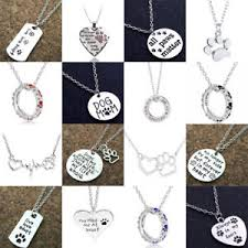 image is loading love heart dog cat paw print pendant chain