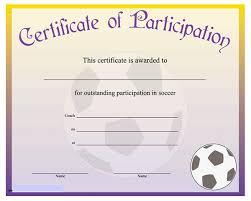 Printable Soccer Participation Certificate Templates