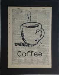 coffee cup vine dictionary print book page art 8 00 via etsy