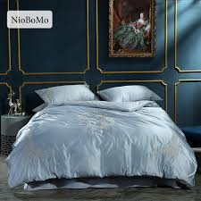 niobomo luxury embroidery gray silk bedding set bedroom home textiles silky duvet cover comforter bed set with flat sheet california king bedding sets