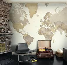 world map wallpaper and wall mural from in beige color world map wall murals uk world