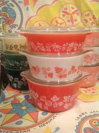 Vintage Pyrex Gooseberry Design My Pyrex Gooseberry Color Variations Pink Red Green And
