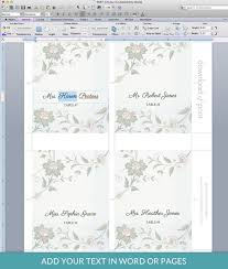 Place Cards Template For Word Watercolor Flowers Place Card Template