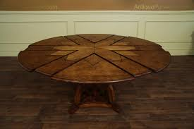 Expandable Circular Dining Table Solid Walnut Round Arts And Crafts Expandable Dining Room Table