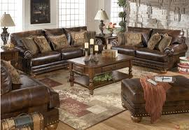 Microfiber Living Room Set Traditional Brown Bonded Leather Sofa Loveseat Living Room Set