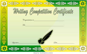 Essay Writing Competition Certificate Template Free 3 One