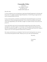 Gallery Of Legal Receptionist Cover Letter Law Covering Letter