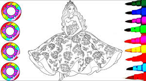 Disneys Barbie In Rainbow Dress Coloring Sheet Coloring Pages L How