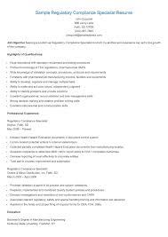 Resume Specialist Sample Regulatoryompliance Resame Pinterest